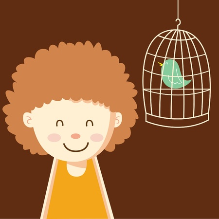 cute girl with little bird Illustration