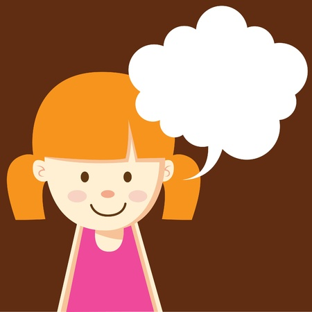 thought bubble: cute girl with bubble speech Illustration