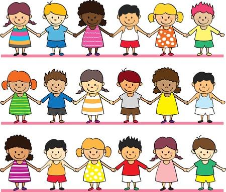 multi race: ni�os felices la mano