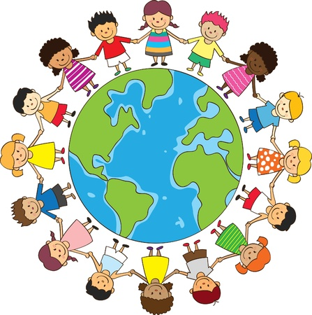 world group: happy children holding hand with globe  Illustration