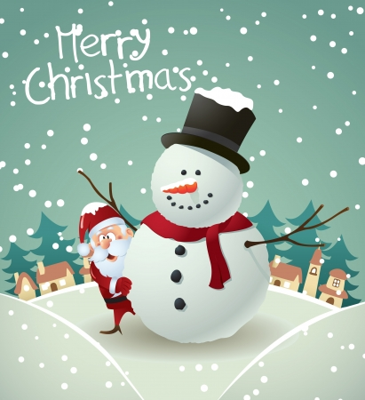 snowman background: cute christmas card  Illustration