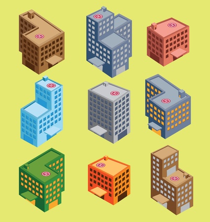 isometric épület Illusztráció