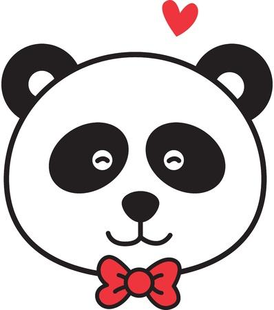 oso panda: linda cara de panda Vectores
