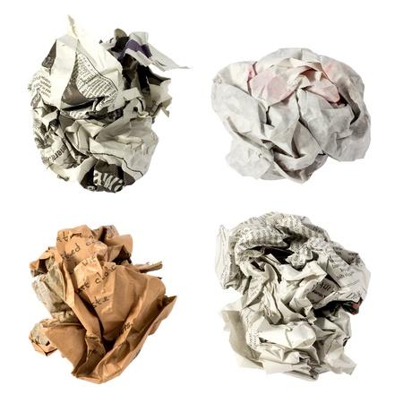 crumpled sheet: crumpled paper ball
