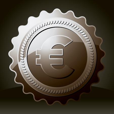 iron seal with euro symbol Vector
