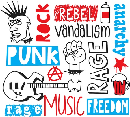 punk rock: punk doodle Illustration