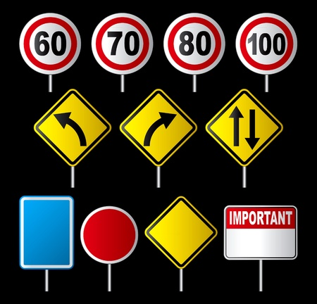 set of traffic sign Vector