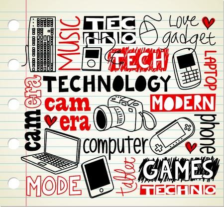 doodle art clipart: technology doodle Illustration