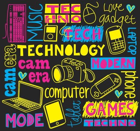 technológia doodle Illusztráció