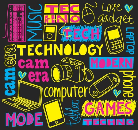 computer graphic design: technology doodle Illustration