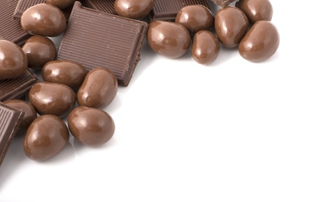 add text: various chocolate shapes with space to add text Stock Photo
