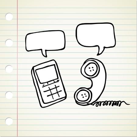 doodle phone Vector