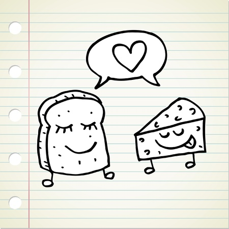 doodle bread and cheese Vector