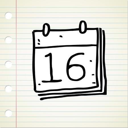 cartoon calendar: doodle calendar Illustration