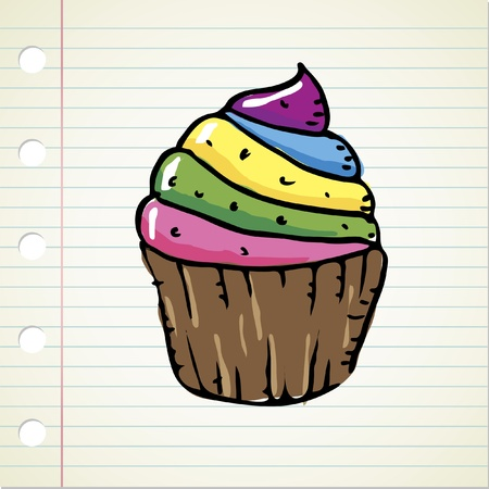 yummy: doodle colorful cupcake