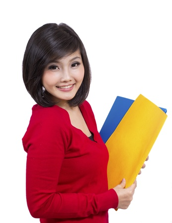 pretty young female holding folder Stock Photo - 12731730