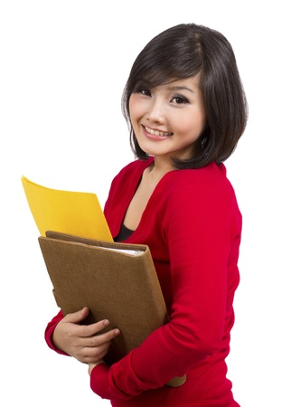 pretty young female holding folder Stock Photo - 12731808