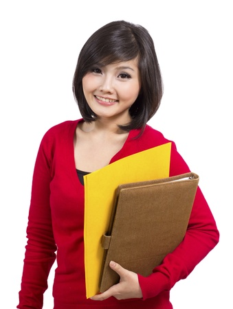 pretty young female holding folder Stock Photo - 12731586