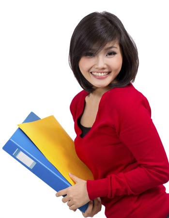 indonesian woman: pretty young female holding folder