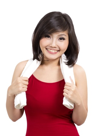 adult indonesia: healthy girl smiling after exercise