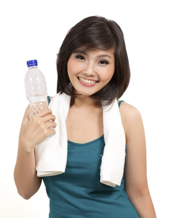 indonesia people: healthy girl smiling after exercise