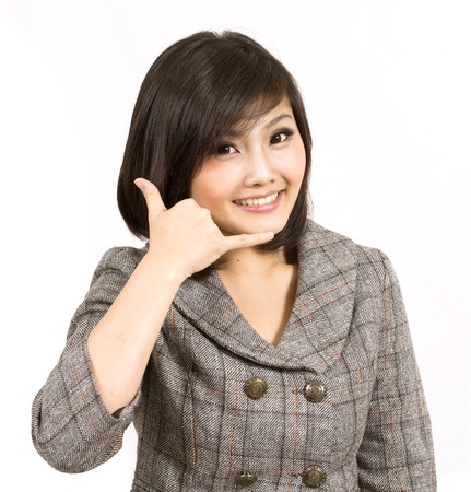 young business woman making call gesture Stock Photo - 12732072