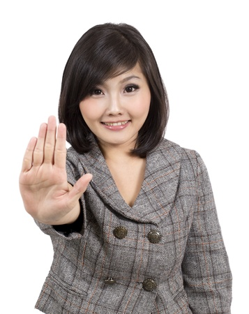 adult indonesia: pretty young business woman making stop sign  Stock Photo
