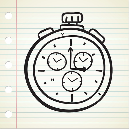 clock cartoon: stopwatch doodle Illustration