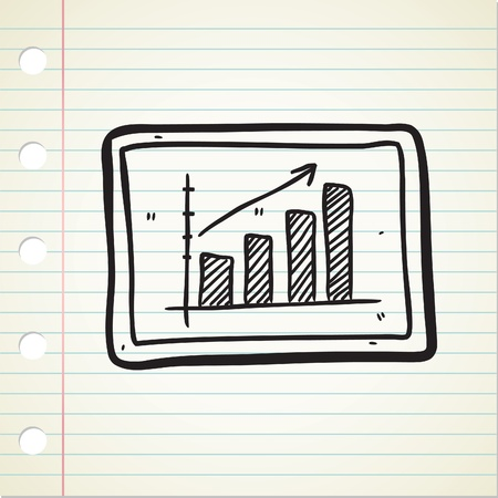 bullish: bullish trend chart in doodle style Illustration