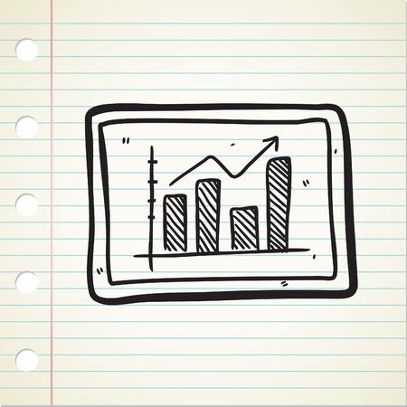 bullish: bullish trend chart in doodle style Illustration
