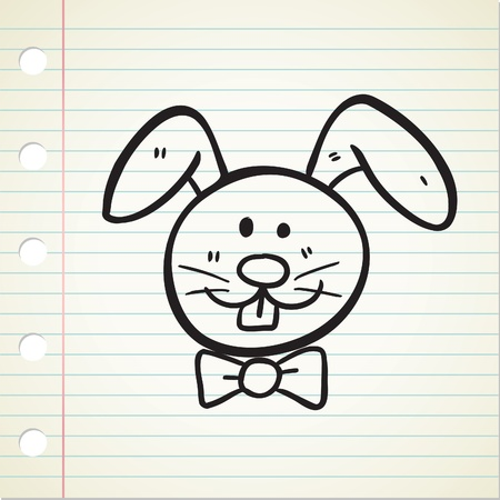 rabbit face in doodle style Stock Vector - 12907479