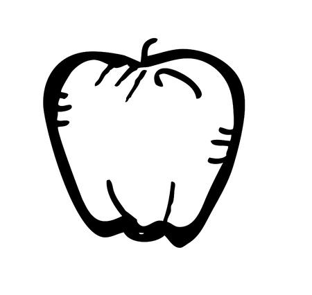 fruit clipart: apple doodle