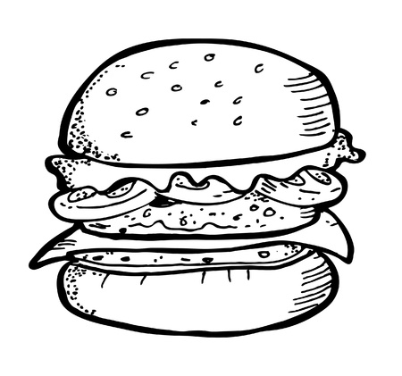 gourmet burger: burger doodle Illustration