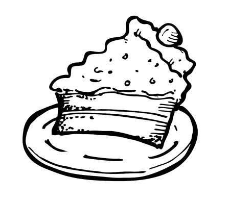 trozo de pastel: pastel de queso dibujo
