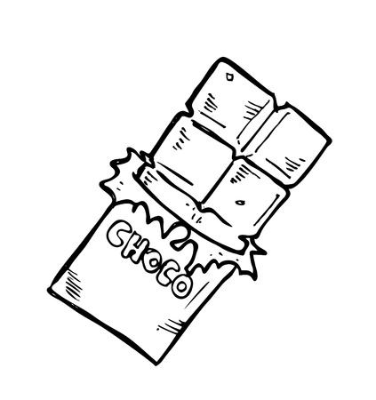 casse-cro�te: barre de chocolat doodle Illustration