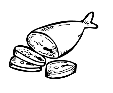 Raw Meat Drawing Fish Meat Doodle Vector