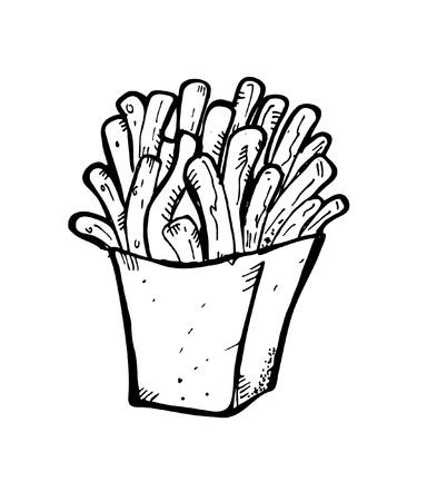 papas fritas: dibujo francés fritas