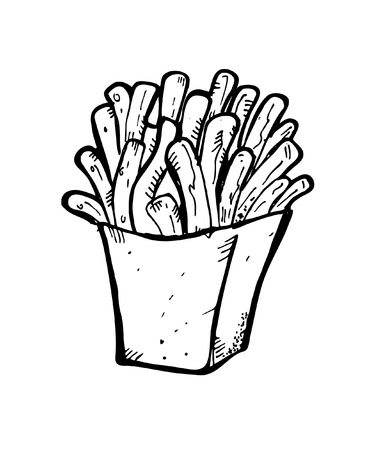 french fries doodle Vector