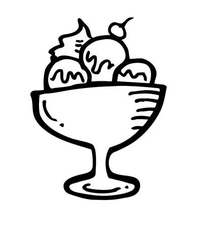 ice crwam doodle Vector