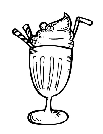 float: ice cream with float doodle Illustration