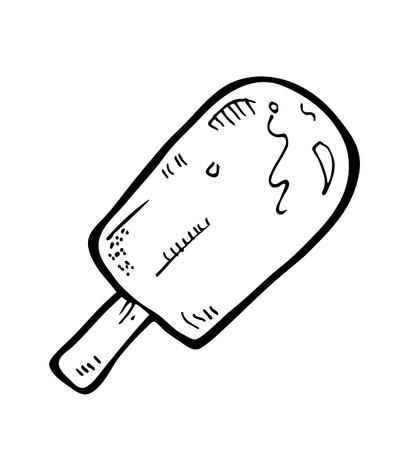 gelato stecco: ice cream bastone Doodle Vettoriali
