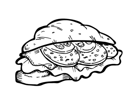 quick snack: croissant doodle Illustration
