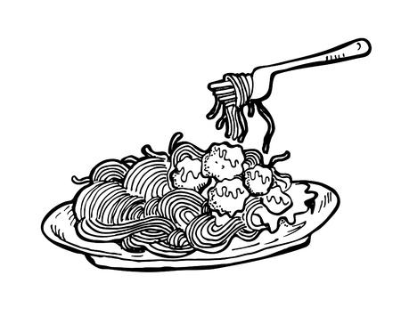spaghetti: spaghetti doodle Illustration