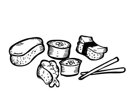 sushi roll: rotolo di sushi Doodle