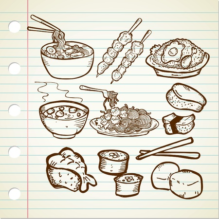 fried noodles: asian food doodle Illustration