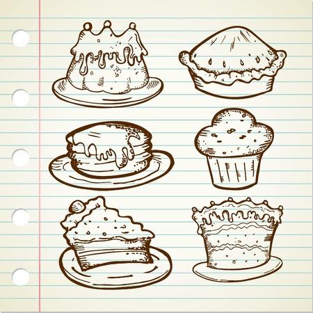 set of cake doodle Vector