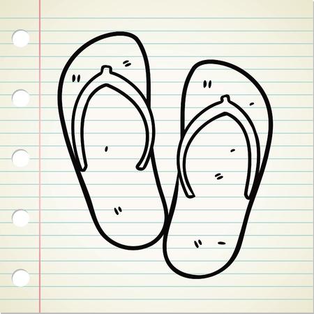 sandal: flip flop sandal doodle