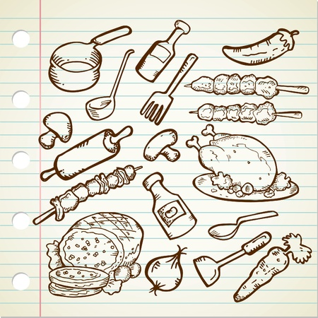 bbq background: food and cookware