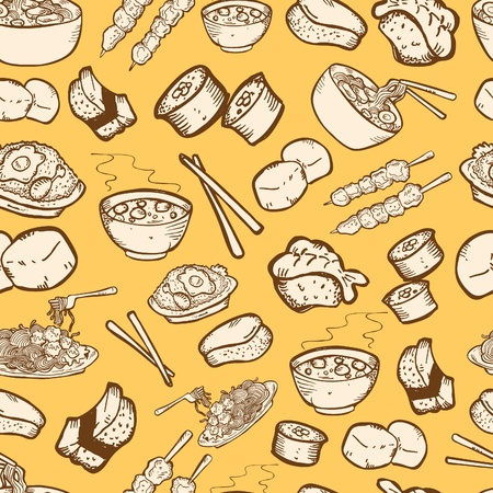 fried noodles: food seamless pattern
