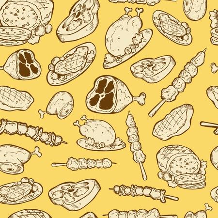 steak beef: food seamless pattern